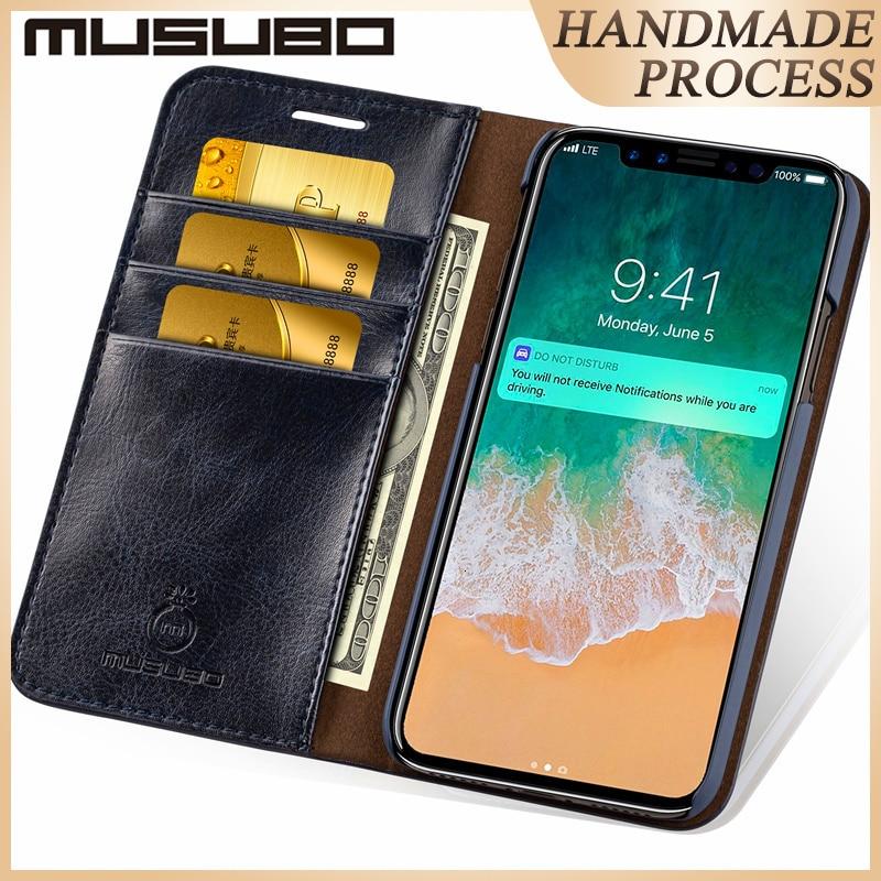 Musubo läderfodral fodral för iPhone 8 Plus 5 5s SE lyxkorthållare plånbok Flipfodral för iphone Xs Max 7 plus 6s Plus 6