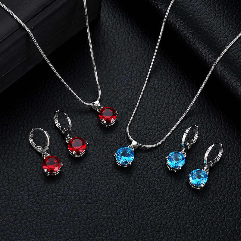 New hot fashion temperament jewelry necklace /earrings two-piece round multicolor crystal pendant set