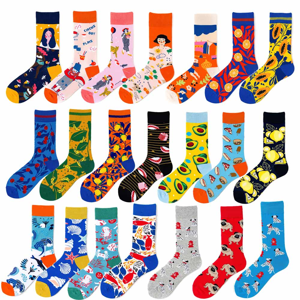 Women Happy Creative Cotton Harajuku Kawaii Socks Painting Fruit Avocado Shell Starfish Octopus Dog Funny Cute Skateboard Socks