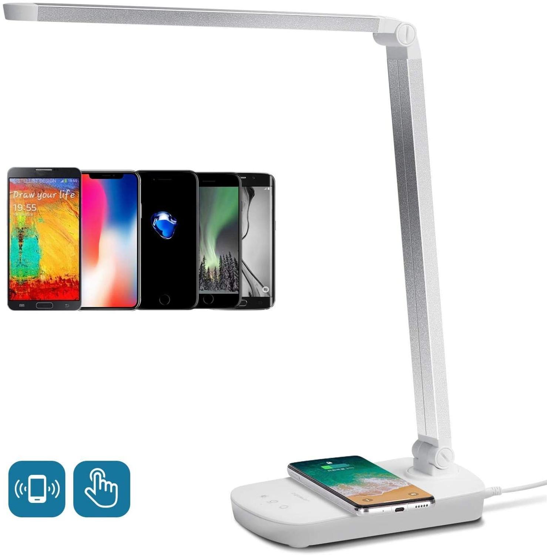 Lampada da Scrivania LED Aigostar Mona, Lampada da Tavolo con Ricarica Wireless QI per Smartphone. 3 Livelli Dimmerabili, 3 Modalità Graduali di Colore, Touch Control, Luce Gradevole per Occhi, 5W