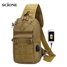 USB Charging  Chest Bag Military Tactical Army Shoulder Sling Fishing Camping Hiking Bags Travel Duffle Mochila Outdoor XA873WA outdoor military tactical shoulder bag with usb charging chest bag wear resistant travel camping backpack cycling