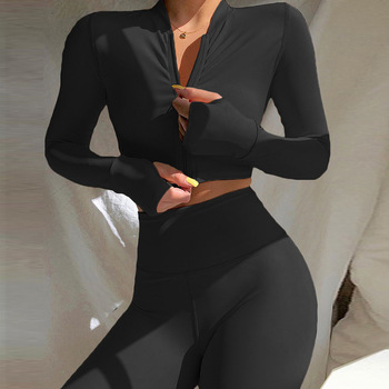 Long Sleeve Tracksuit Sport Set Women Sportswear 2021 Home Yoga Suit for Fitness Clothing Workout Clothes Femme Khaki Black Red 1