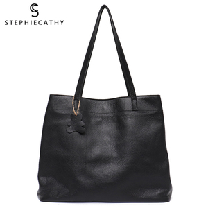 Image 1 - SC Fashion Women Genuine Leather Handbags Multi Sections Large Tote Bags Slouchy Cow Leather Hobo High Quality Big Shoulder Bags