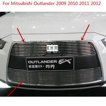 High quality Aluminium alloy Front Grille Around Trim Racing Grills For Mitsubishi Outlander 2009 2010 2011 2012 Car-styling