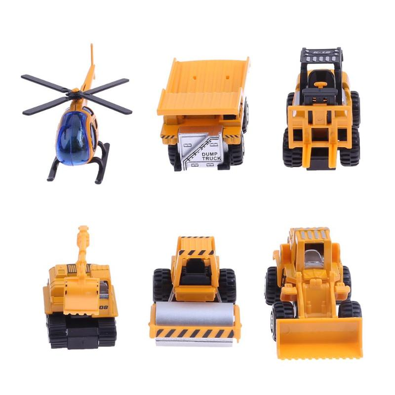 6pcs Children Kid Mini Alloy <font><b>Tank</b></font> Airplane Toy Engineering Educational Diecasts Vehicle Cars Model Mini ChrismasGift image