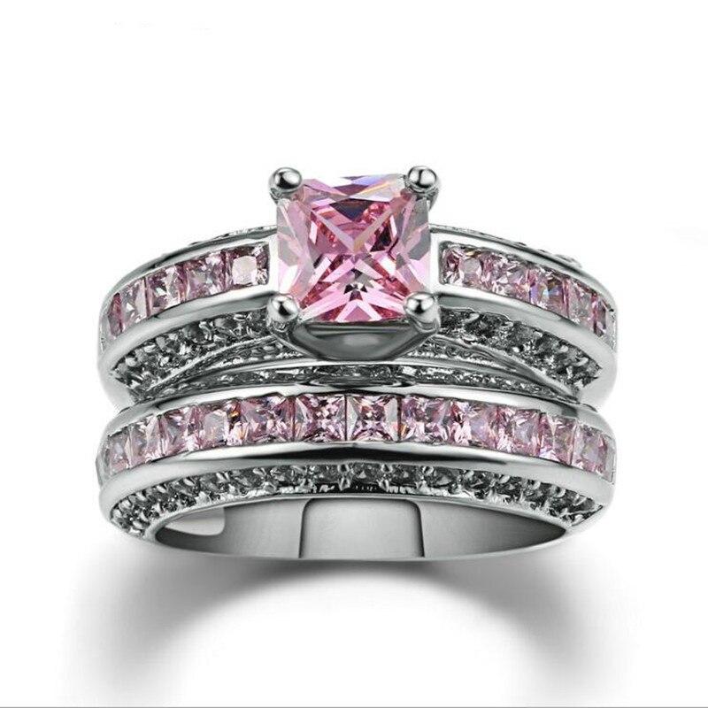 FDLK сказочные ювелирные изделия из сплава, цвет принцессы, розовый, синий, белый кристалл, ювелирные изделия, день рождения, обещание на годовщину|Обручальные кольца|   | АлиЭкспресс