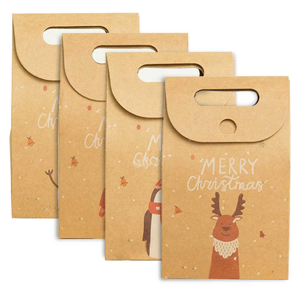 Santa Claus Weihnachten Tier Muster Retro Kraft Papier Einkaufstasche Weihnachten Apple Geschenk Box DIY Verpackung Beutel Süßigkeiten Cookie Präsentieren tasche