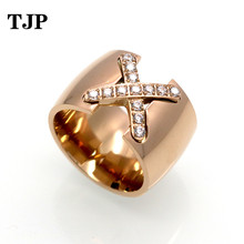 2019 Fashion New Arrival Gold Color Ring 14mm Width Big Pave Setting CZ Cross X Ring for Women Trendy Crystal Jewelry Gift trendy cross rhinestone decorated ring for women