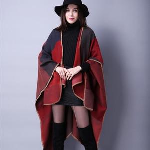 Image 5 - brand 2020 women winter scarf warmer shawl ladies Vintage plaid Blanket knit wrap Cashmere poncho capes female echarpe pashmina