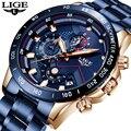 2019 LIGE мужские часы модные синие Хронограф Спортивные кварцевые часы мужские Роскошные водонепроницаемые военные наручные часы из нержавею...