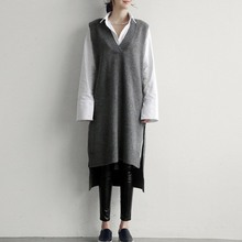 Women Cashmere Knitted Pullovers Vest Long Waistcoat Autumn