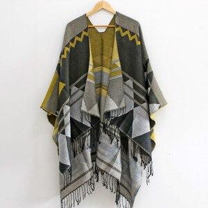 Image 3 - RANAWEELA Women Geometric Printed Shawl With Tassel Open Front Poncho Cape Cardigan Wrap Shawl For Winter Pashmina Ruana Female