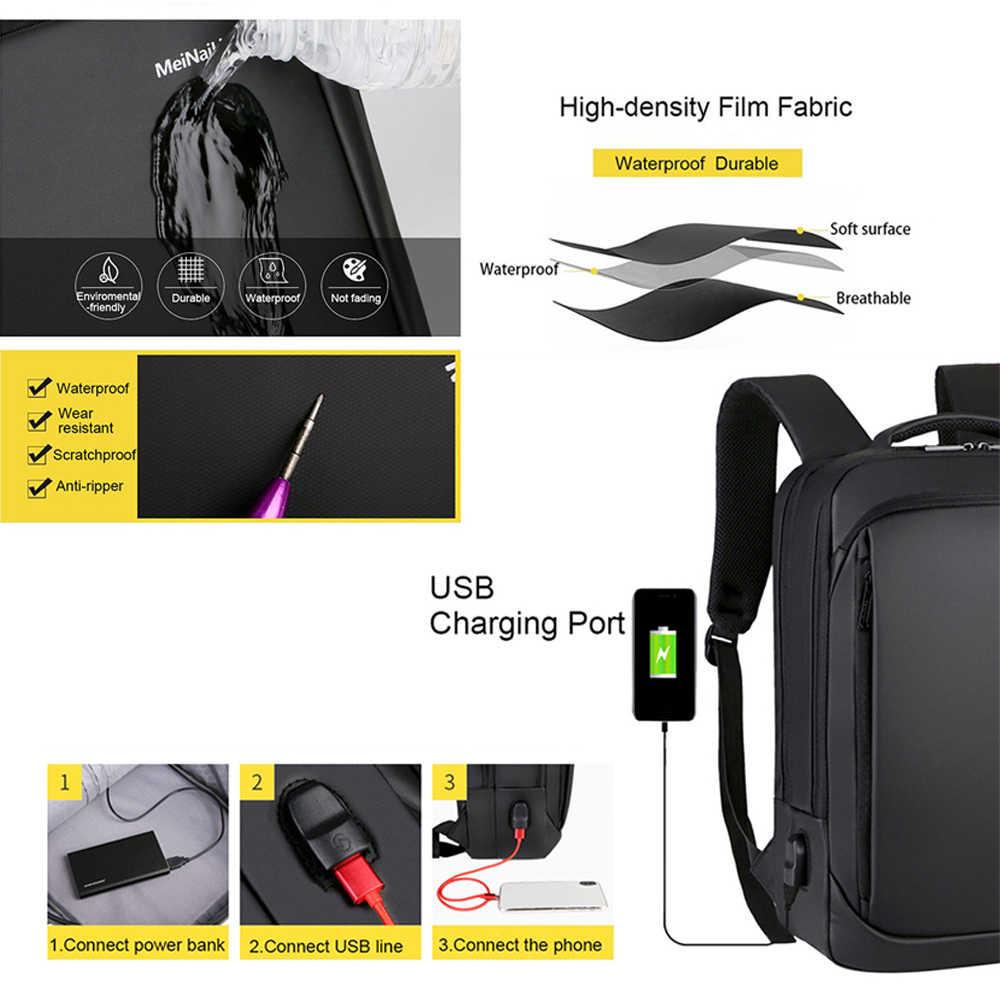 Laptop çantaları 15.6 inç erkek erkek sırt çantaları iş not defteri Mochila su geçirmez sırt çantası USB şarj çantaları seyahat sırt çantaları