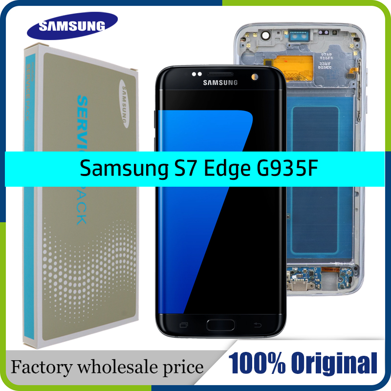 100% Original 5.5'' Screen For SAMSUNG Galaxy S7 Edge LCD Display G935 G935F G935A Touch Digitizer Assembly Replacement Parts.