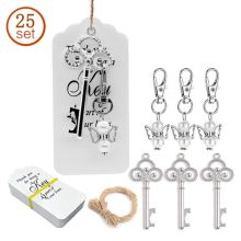 25pcs/set Key Bottle Opener Angel Wings Keychain with Tags Wedding Party Favor Souvenirs Gifts for Guest 30pcs custom personalized name date bottle opener keychain wedding gifts for guests wedding souvenirs wedding favors and gifts