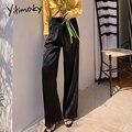 Yitimoky атласные шелковые штаны женские широкие брюки свободного кроя с завязками; Офисные белые штаны размера плюс эластичные женские сапоги...