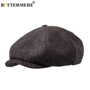 BUTTERMERE Newsboys Beret Herringbone Men Flat Caps Wool Casual Winter Tweed Female England Style Classic Octagonal Hats And Cap(China)