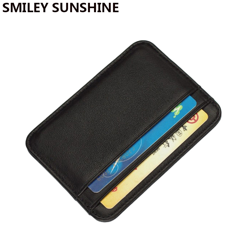 SMILEY SUNSHINE Sheepskin Genuine Leather Men Slim Wallets Card Holder Male Small Wallets Black Purses Thin Wallet For Card 2018