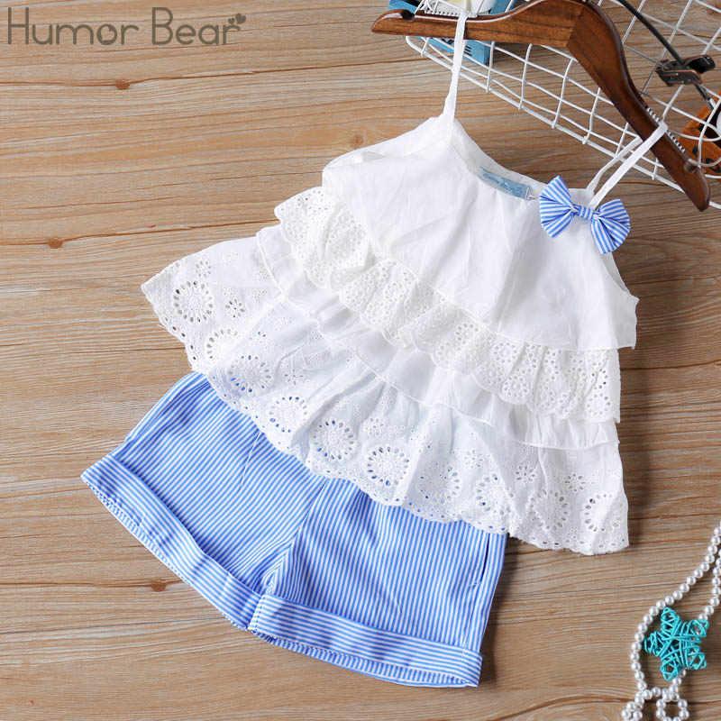 Humor Bär 2020 Mädchen Kleidung Neue Sommer Kinder Bogen Spitze Sling T-shirt + Gestreiften Kurzen Hosen Sets Kinder Sleeveless kleidung Sets