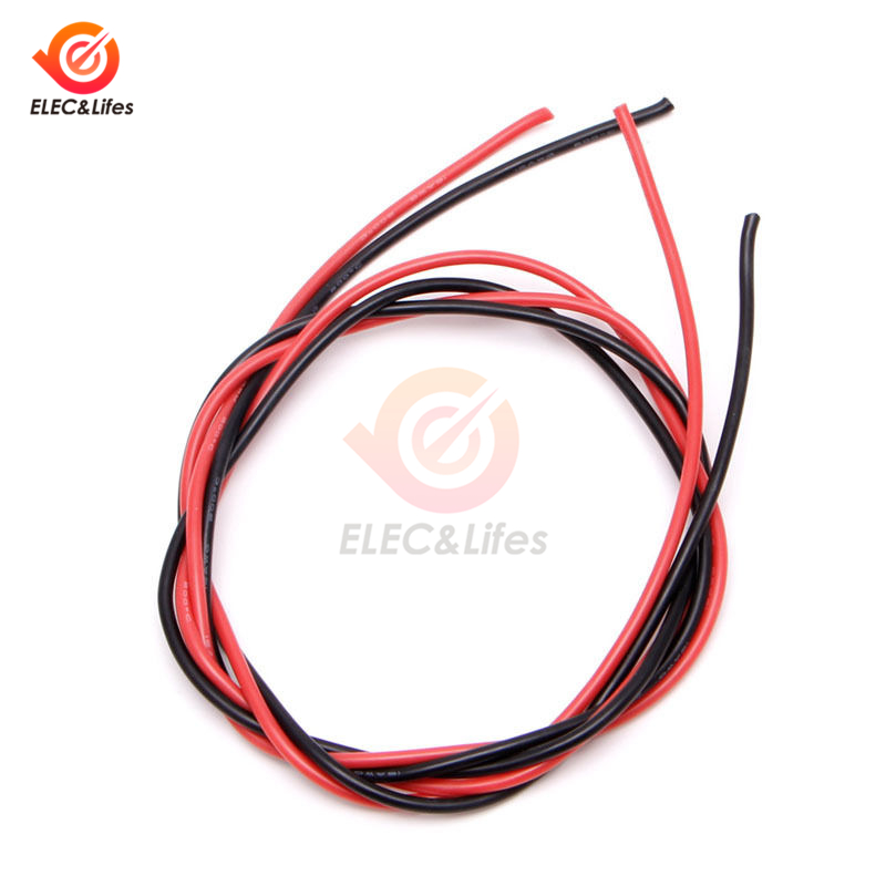 Câbles en Silicone flexibles de calibre 16 AWG, 1 jeu de câbles en cuivre de 16 AWG pour RC noir 1M + rouge 1M = 2M