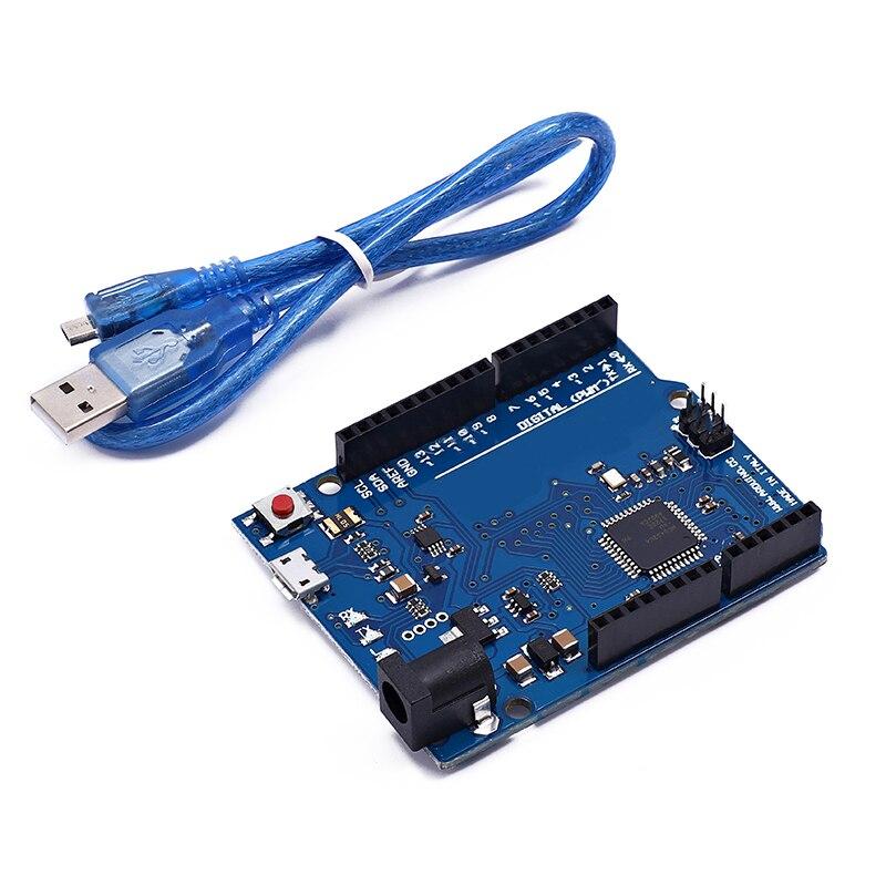 Макетная плата Leonardo R3 с микроконтроллером Atmega32u4, макетная плата с USB-кабелем, совместимая с arduino, стартовый комплект «сделай сам»