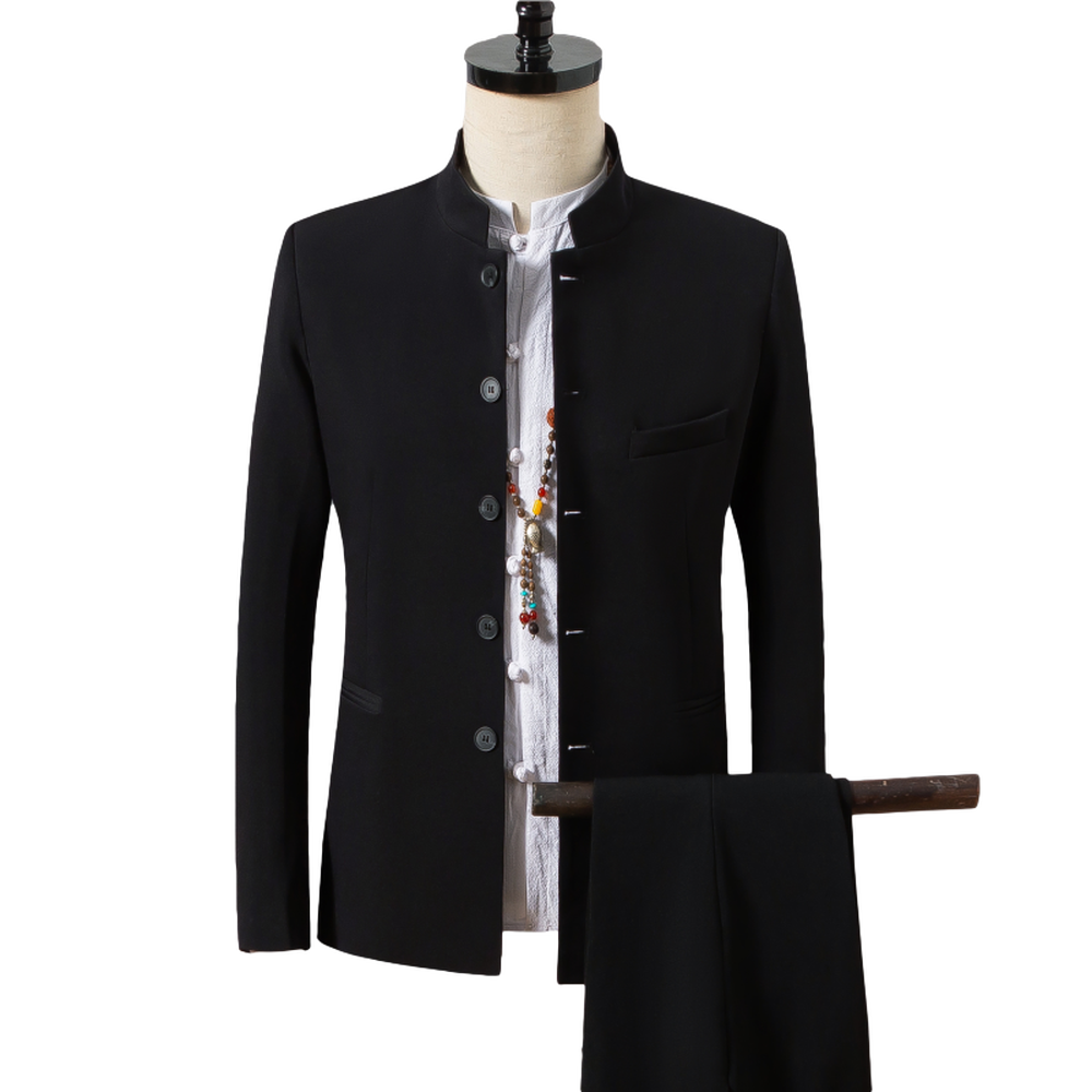 Traditional Chinese Style Autumn Tunic Suit Men's Solid Color Casual Stand Collar Suits With Pants 2pcs Blazer+Pant Office Wear