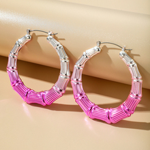 HuaTang New Punk Colorful Bamboo Alloy Hoop Earring Exaggerated Twisted Big Circle Earring for Women Men Hip Hop Party Jewelry fashion crystal round hoop earring hip hop punk stud earring for women gold color colorful jewelry gifts wholesale