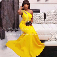 2020 Yellow Evening Dress With Feather Beads One Shoulder African Women Long Mermaid Graduation Prom Dresses Robe De Soiree