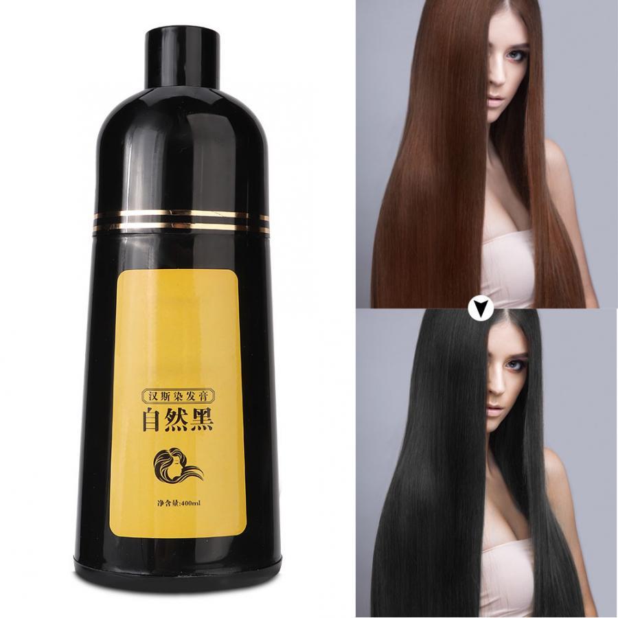 Tintura de Cabelo Cuidados com o Cabelo Cor do Cabelo Natural Planta Shampoo Cabelo Preto Coloração 400ml