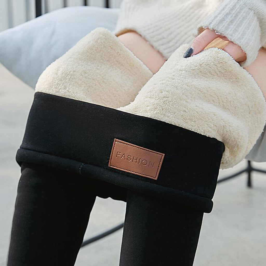 Black Warm Pants Winter Skinny Thick Velvet Casual Wool Fleece Trousers Lambskin Cashmere Pants For Women Leggings *