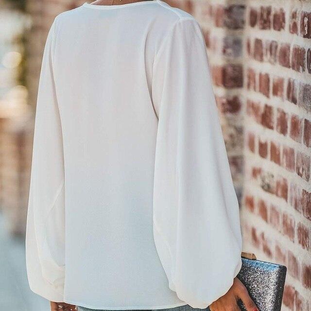 FORUDESIGNS Fashion Vintage Sugar Skull Pattern Large Size Women Blouse 2020 Casual Loose Long Sleeve Tops V-neck Shirts 5