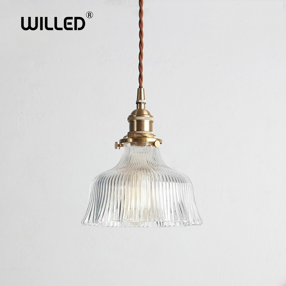 Creative Japanese glass pendant Lights Hanging Lamp brass pleated transparent Lighting E27 restaurant bar hall decorative light