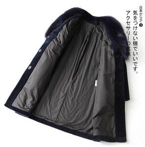 Image 2 - AYUNSUE veste dhiver pour femme, manteau de fourrure de renard, longue manteau en laine 100%, grande taille, XESD1811
