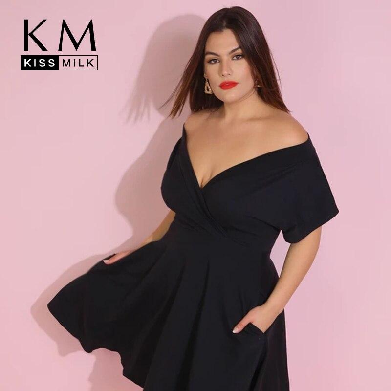 KISSMILK 2020 New Fashion Women Plus Size Loose Simple Wild Black Dress Office Lady Solid Sexy Strapless Spring V-Neck