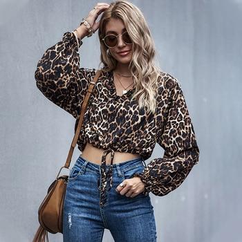 Fall 2020 Women Ruffle Long Sleeve Leopard Crop Top Kawaii Ladies V Neck Drop Shoulder Tie Knot Front Leopard Crop Tops drop shoulder self tie cardigan