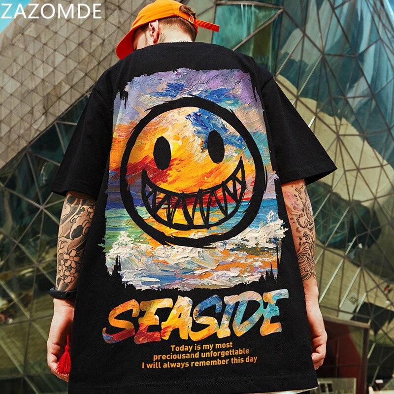 ZAZOMDE 2021 New Popular Brand manica corta da uomo cartoni animati tee Summer hip hop T-shirt amanti dello stile cinese stampa maglietta oversize