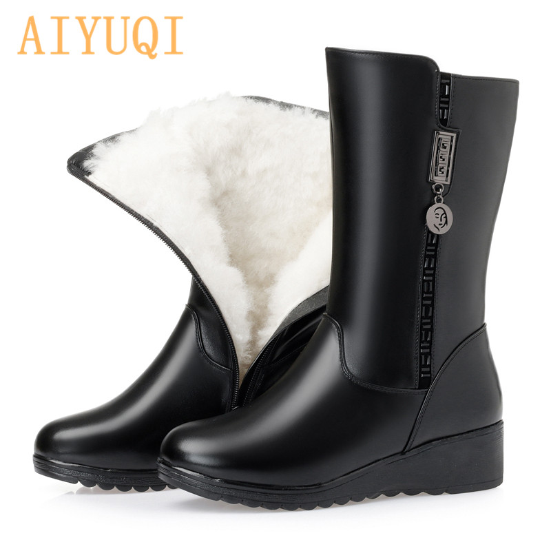 AIYUQI Mid-calf Boots Women Winter Genuine Leather Australian Wool Flat Snow Wedge Large Size