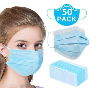 50Pcs Mask Disposable Nonwove 3 Layer Ply Filter Mask mouth Face mask filter safe Breathable Protective masks