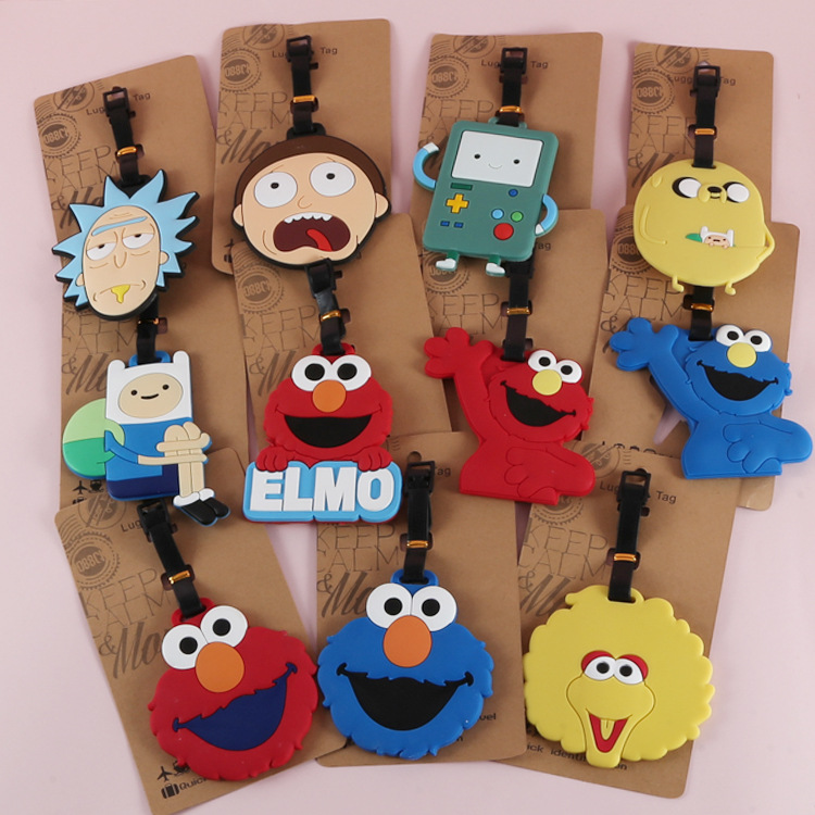 Sesame Street Big Bird Anime Bag Accessories Luggage Tag Suitcase ID Address Portable Tags Holder Baggage Travel Labels New
