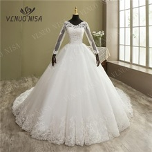 Fashion Elegant Lace Embroidery Long Sleeve Wedding Dress with Train Real Image Gown V Neck Beautiful Plus Size Vestido De Noiva