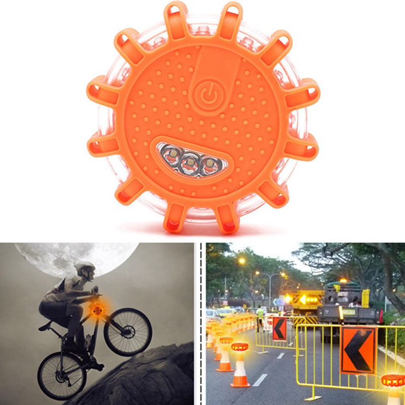 1pcs 15* LED Emergency Safety Flare Red Road Flare Magnet Flashing Warning Night Lights Roadside Disc Beacon For Car Truck Boat