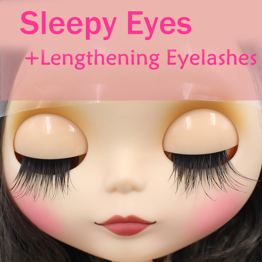 Blythe Nude Doll from Factory Black Long Hair With Make-up Eyebrow Sleeping Eyes