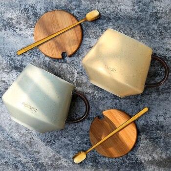 European Bone China Coffee Cup Ceramic Mug Simple Cup Bottle Milk Juice Coffee Mug Tea Cups Water Mugs Lid Spoon BB50