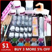 Acryl Nail Art Kit Manicure Set 12 Kleuren Nail Glitter Poeder Decoratie Acryl Pen Brush Nail Art Tool Kit Voor beginners