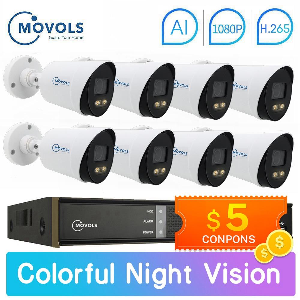 Movols 2MP AI Colorful Night Vision CCTV Kit H.265 Waterproof Video Surveillance System 8CH DVR 8PCS/4PCS Security Camera Set