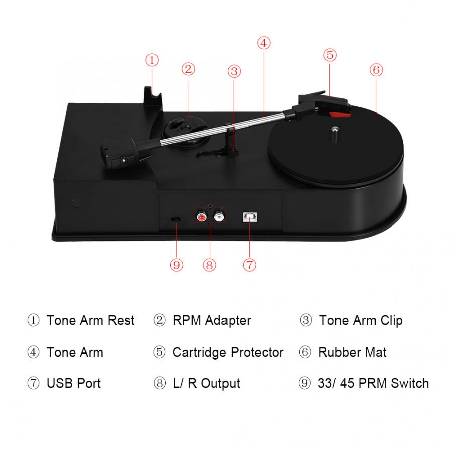 USB Portable Mini Vinyl Turntables Lp Player Record Audio Player Mp3 Cd Player Convertor Stereo Belt-driven System Record Player