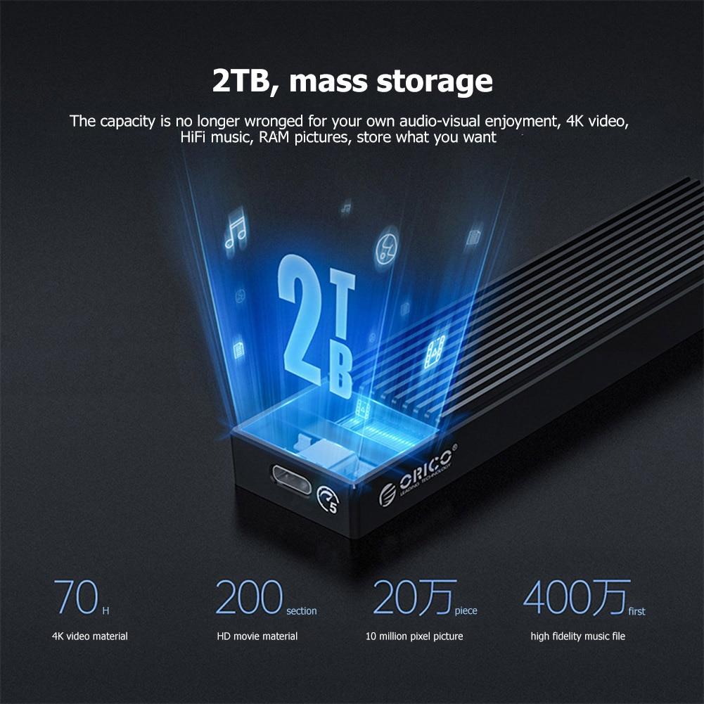 ORICO M2PV-C3/M2PF-C3 Type-C M.2 NGFF/NVME Solid State Drive Enclosure Box USB3.1 5/10Gbps External 2230/2242/2260/2280 SSD Case 4