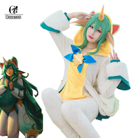 ROLECOS Game LOL Soraka Cosplay Costume Pajama Star Guardian Soraka Cosplay Costume Winter Pajama for Women White Jumpsuit Wing