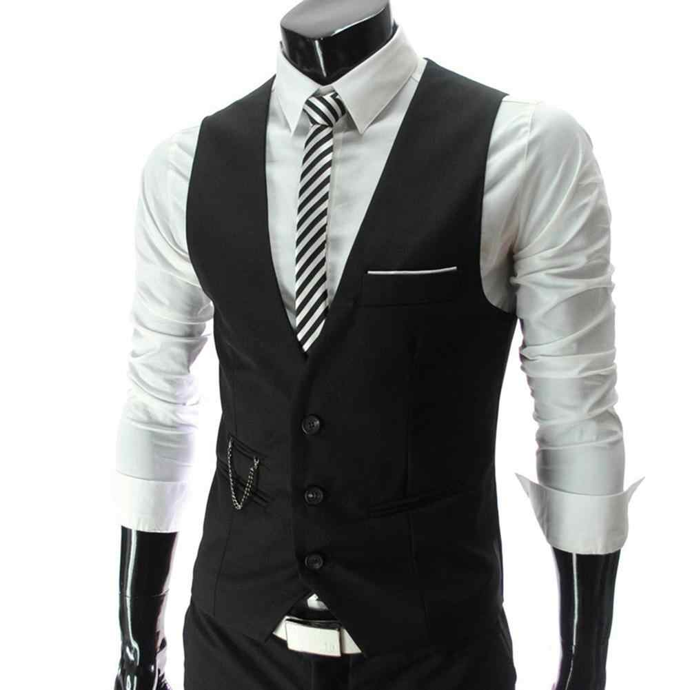 Chaleco de moda para hombre chaleco Color sólido cuello en V sin mangas botones Blazer talla grande Formal chaqueta de negocios chalecos para hombre