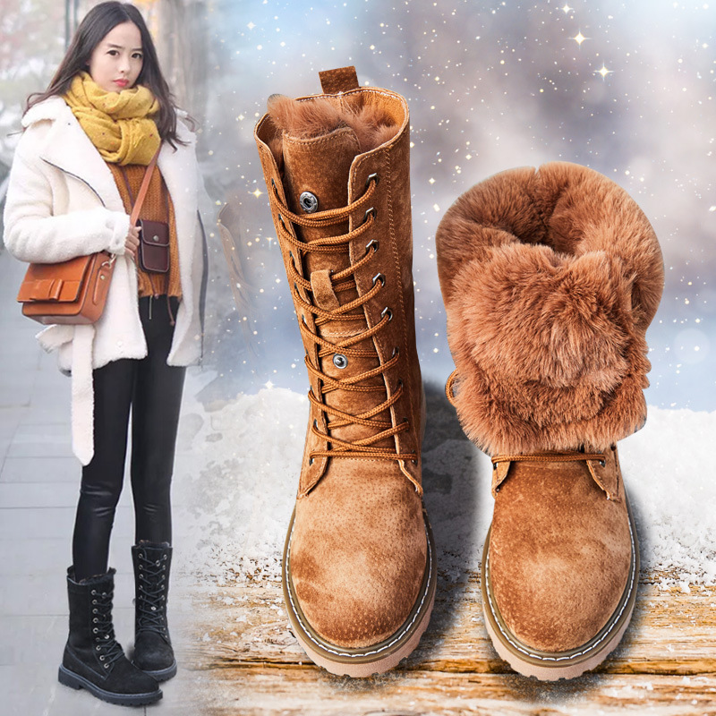 Promo Winter England Styles Fur Boots Ladies Low Heels Platform Knee High Snow Boots Women 2020 Warm Fur Genuine Leather Shoes Ladies